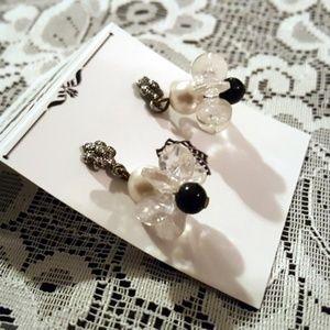 Black & White Artisan Beaded Cluster Post Earrings